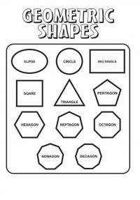 Раскраски формы, эллипс, круг, прямоугольник