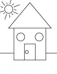 Раскраски формы, дом и солнце
