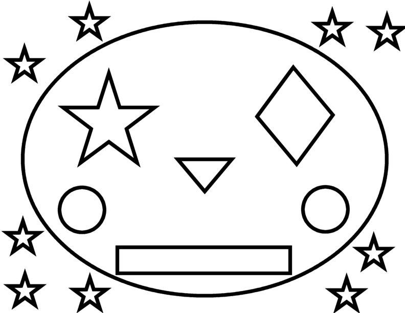 Раскраски формы, рожица из эллипса, звезды, ромба