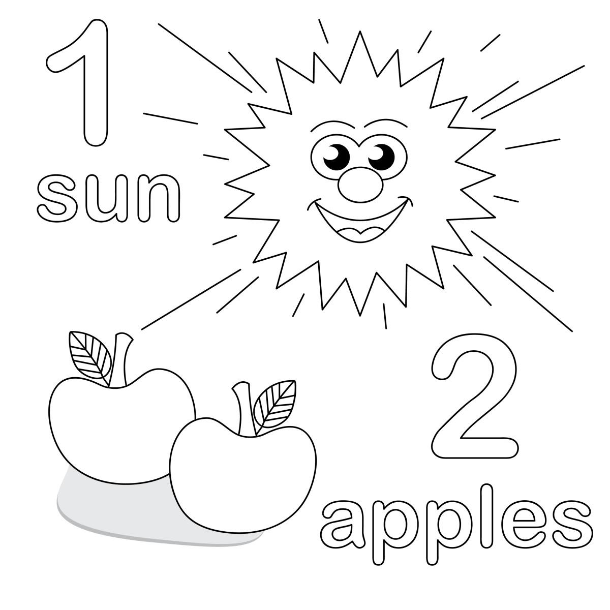 Учимся считать, цифры 1 и 2, солнце и яблоки по английски