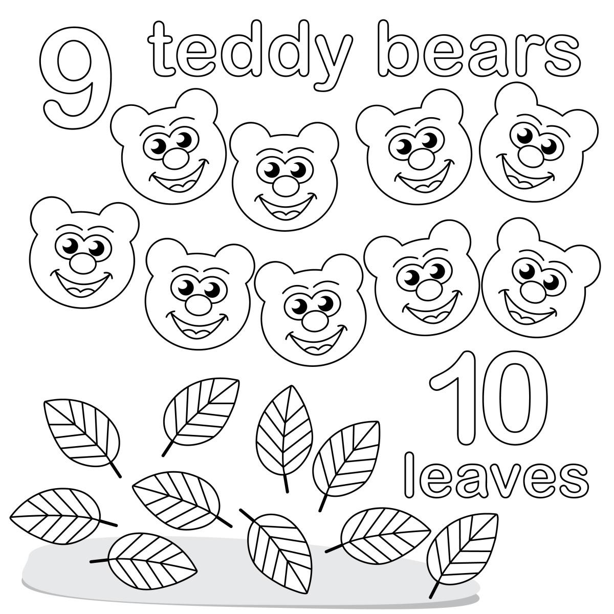 Учимся считать, цифра 9 и 10, медвежата