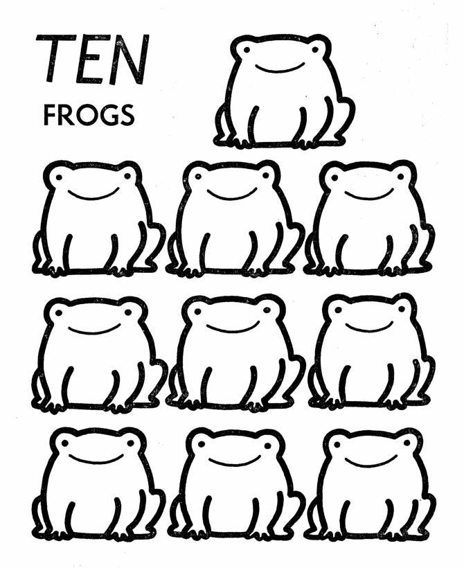 Учимся считать, 10 лягушек