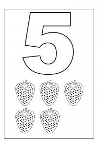 Учимся считать, цифра 5, земляника