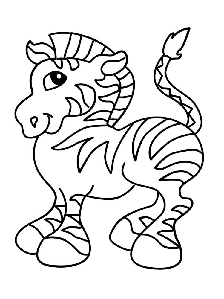 Учим животных раскраски, зебра