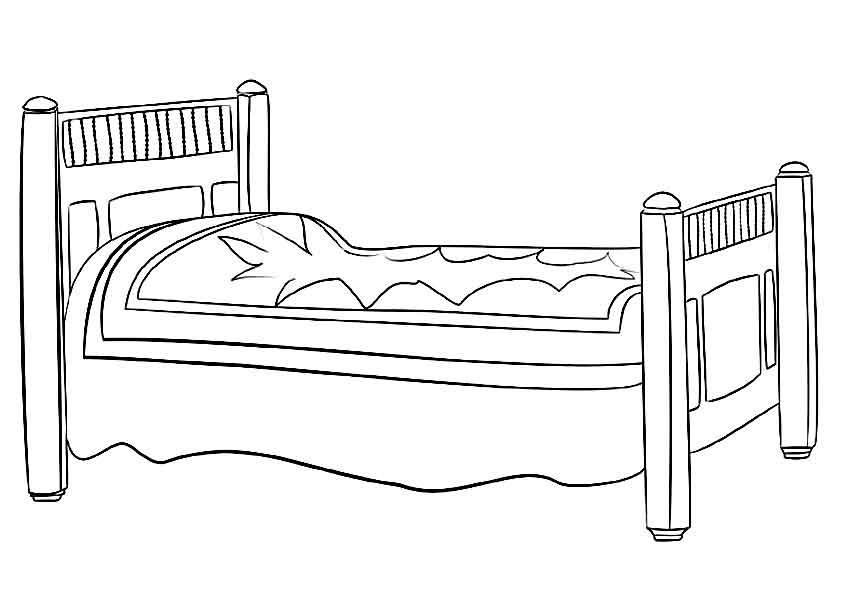 Учим предметы раскраски, кровать