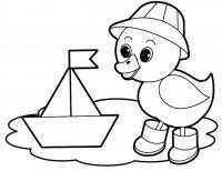 Учим предметы раскраски, кораблик и утенок