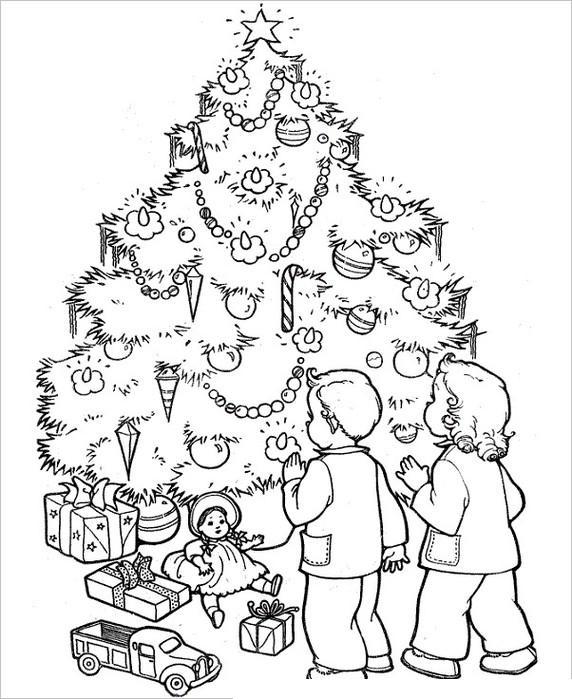 Ряды игрушек под новогодней елкой