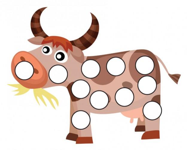 Шаблоны для рисования пальчиками, корова