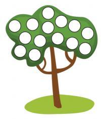 Шаблоны для рисования пальчиками, дерево
