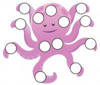 Шаблоны для рисования пальчиками, осьминог