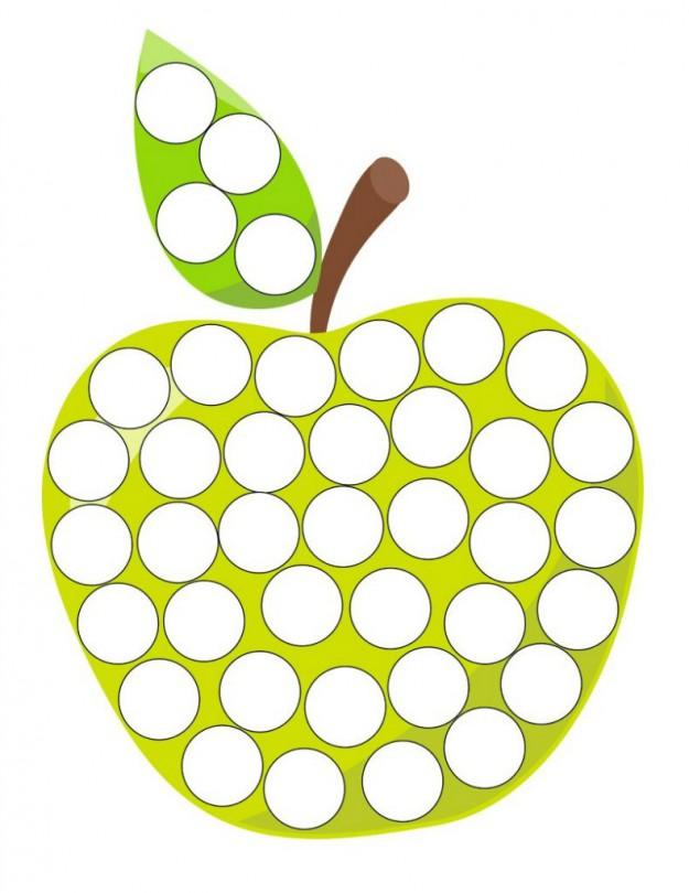 Шаблоны для рисования пальчиками, яблочко зеленое