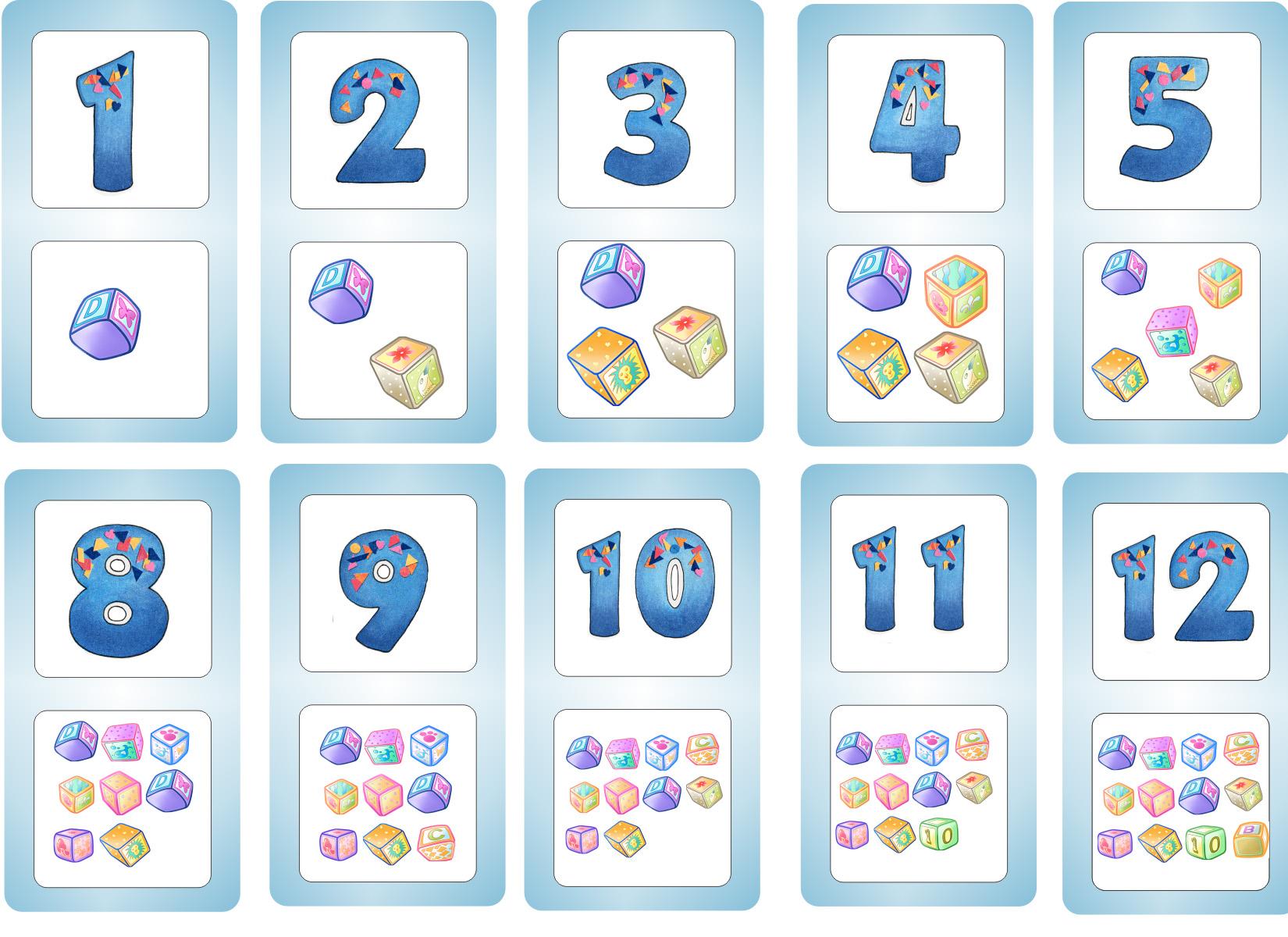 Карточки цифры от 1 до 12