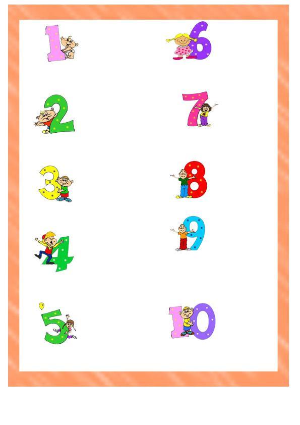Карточки цифры с картинками от 1 до 10