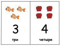 Карточки цифры 3 и 4