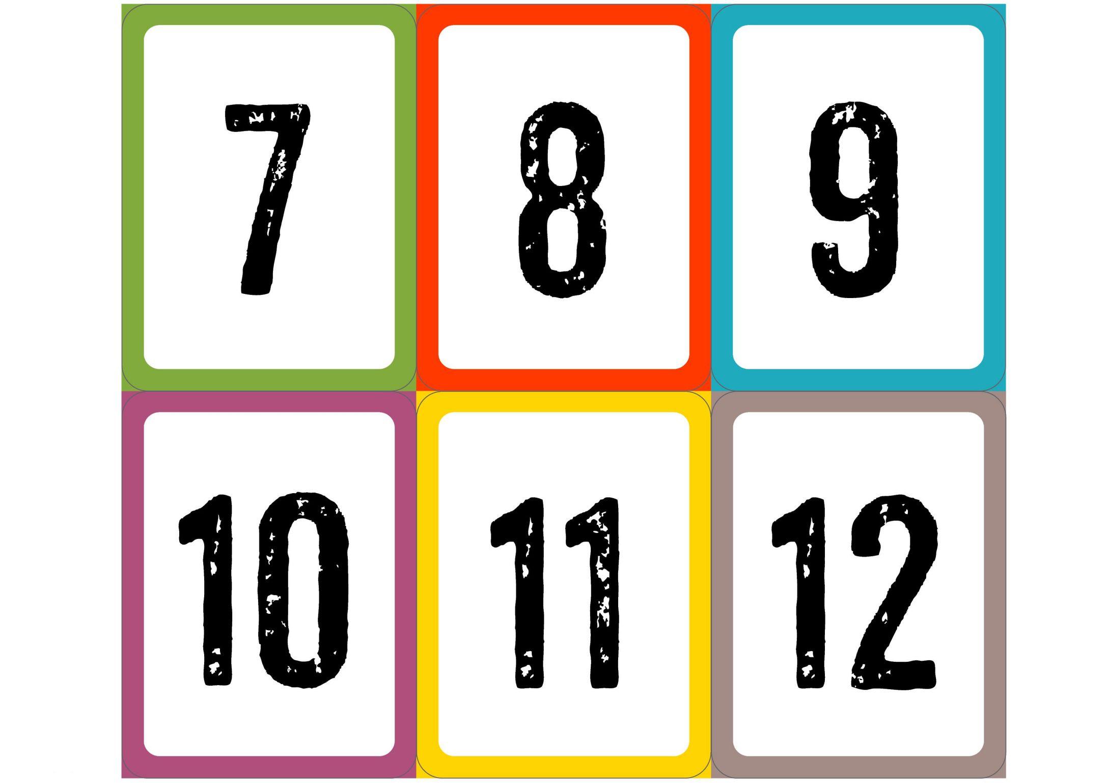 Карточки цифры от 7 до 12