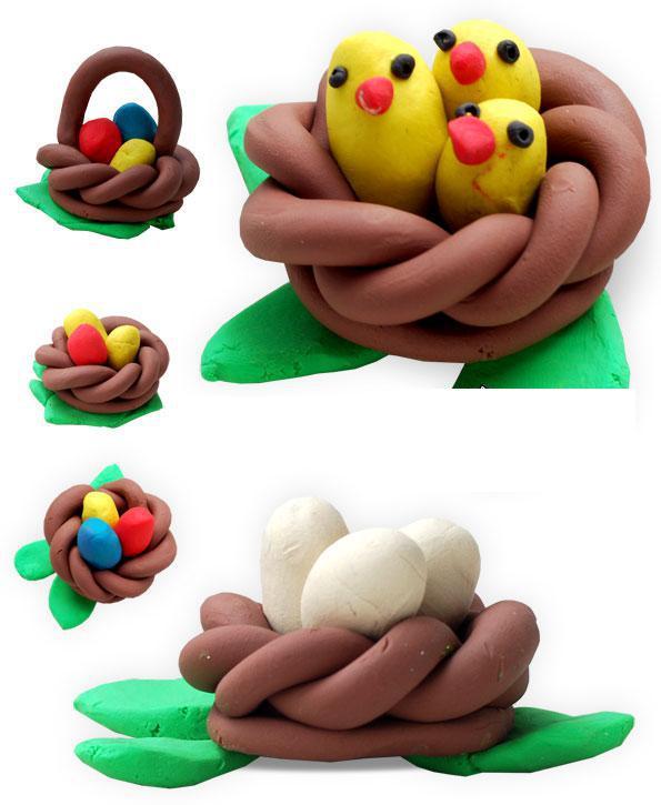 Птенцы в гнезде из пластилина