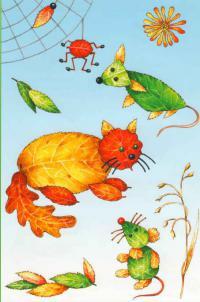 Кошки, мышки, паучки из осенних листиков