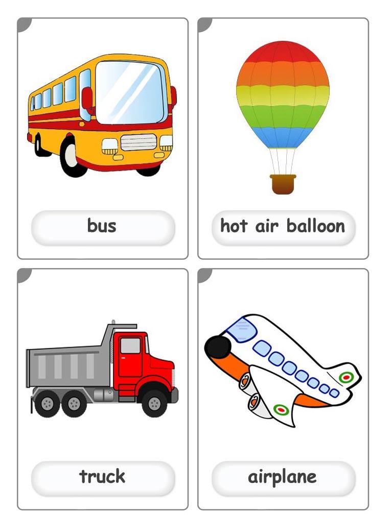 Автобус, воздушный шар, грузовик на английском