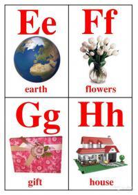 Буквы e, f, g, h