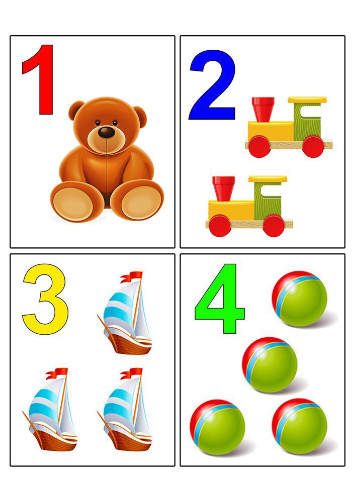 Цифры 1, 2, 3, 4