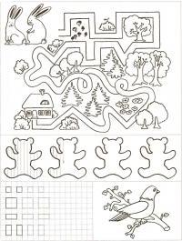 Подготовка руки к письму штриховка, заяц, лабиринты, мишки, птица на ветке