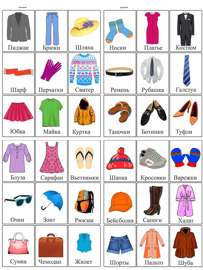 Карточки одежда, пиджак, брюки, шляпа