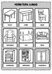 Мебель на английском языке раскраска