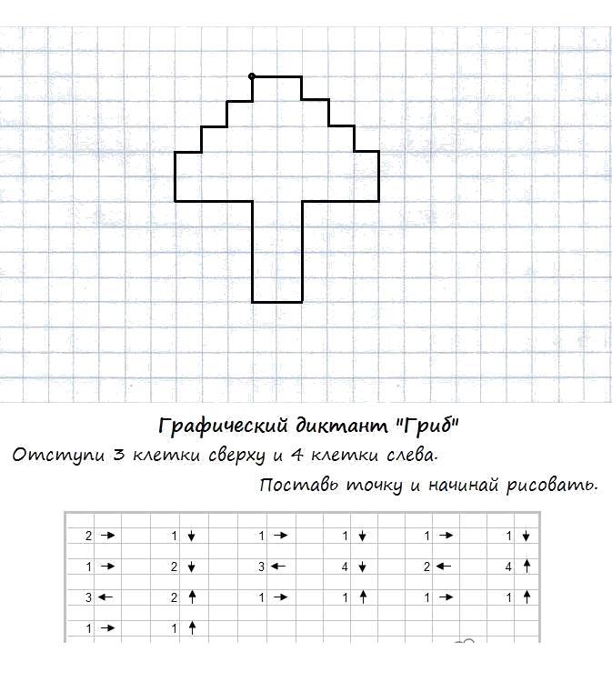 Графический диктант по клеточкам простые, гриб