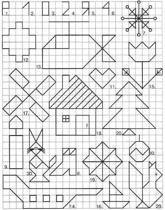 Графический диктант по клеточкам простые, белка, домик, кошка
