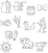 Белочка, зайчик, бочка раскраски для малышей
