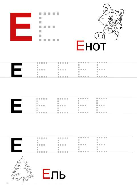 Пропись буквы е, с картинками раскрасками енот и ель