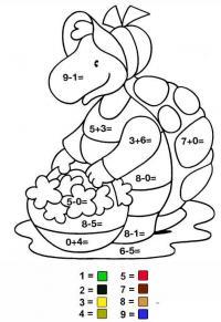 Сложные математические раскраски, черепашка с корзинкой цветов