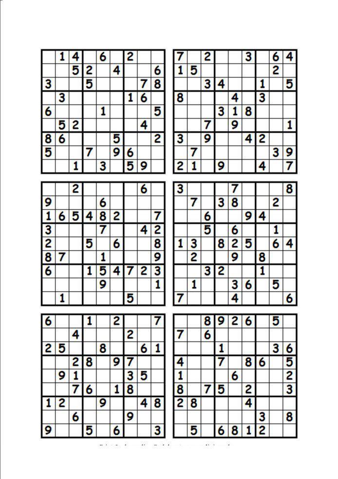 Судоку для печати 9 на 9, 9 вариантов
