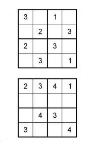 Судоку для печати 4х4