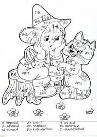 Сложные математические раскраски, мальчик с котом