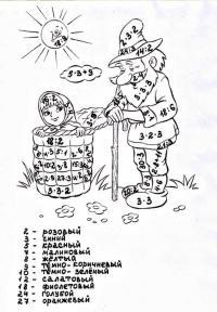Сложные математические раскраски, маша и медведь