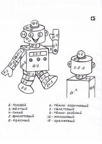 Сложные математические раскраски, робот
