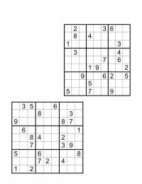 Судоку для печати, 9х9, два варианта