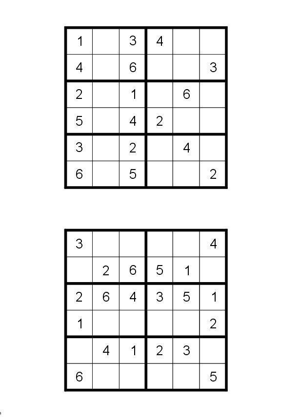 Судоку для печати 6 на 6, 2 варианта