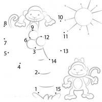 Соедини по точкам, обезьянки