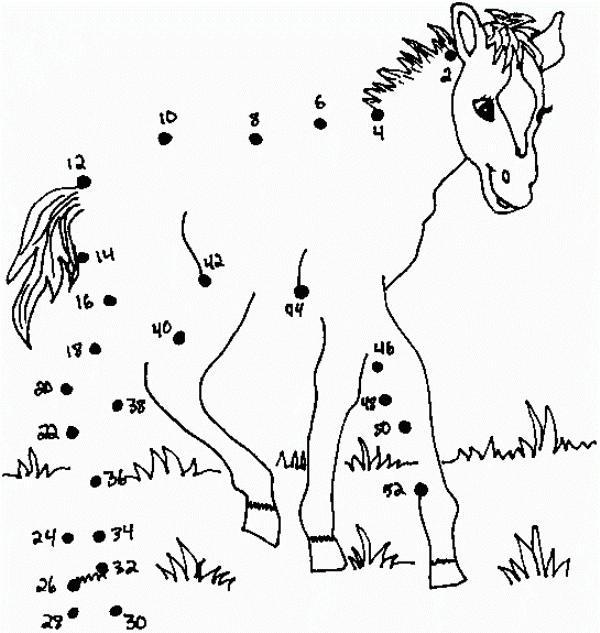 Раскраски с примерами, лошадь