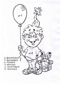 Раскраски с примерами на умножение, мальчик с шариком и подарком