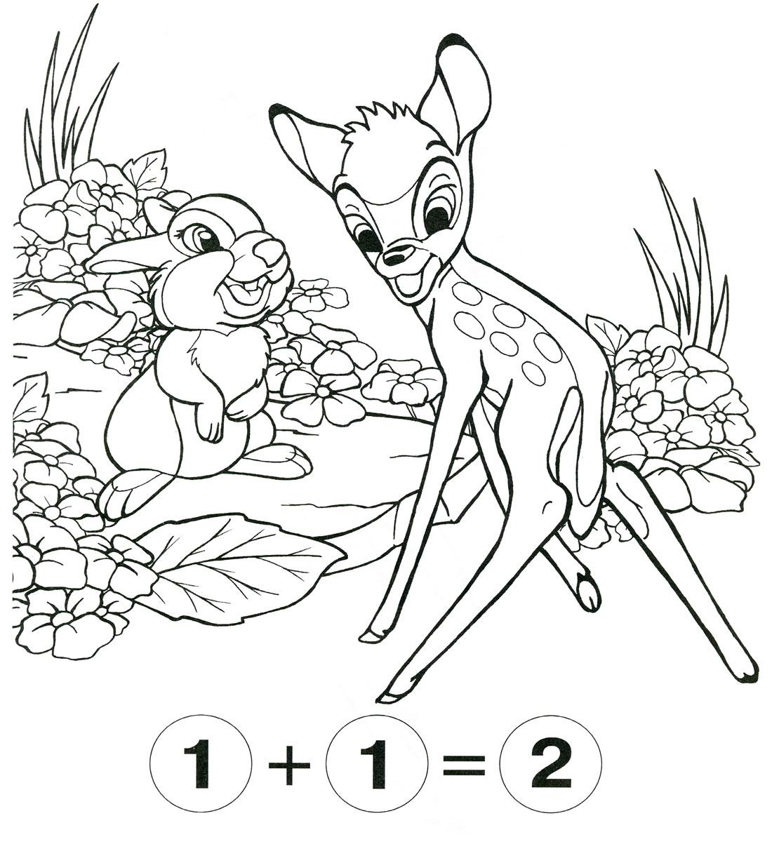 Раскраски с примерами на сложение и вычитание, олененок и зайчик