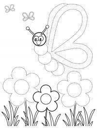 Соедини по точкам для самых маленьких, бабочка над цвнточками