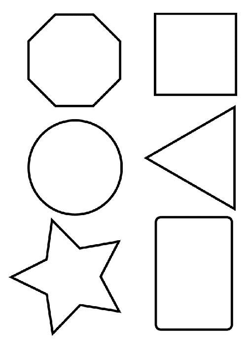 Раскраски фигуры, шестиугольник, квадрат, круг