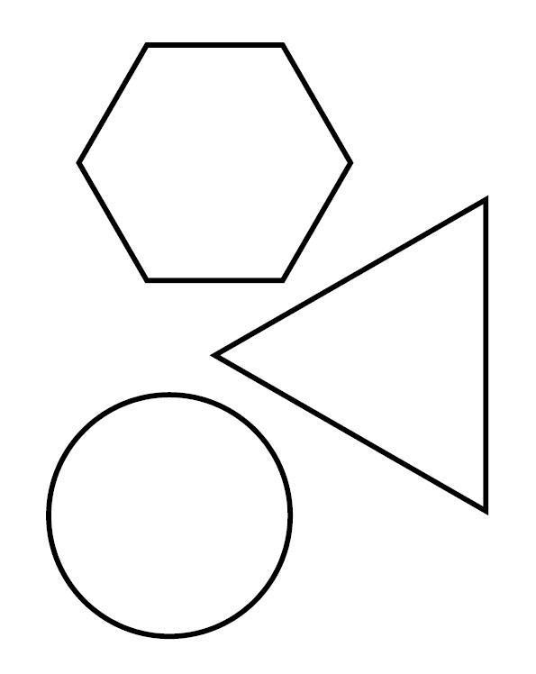 Раскраски фигуры, шестиугольник, треугольник, круг