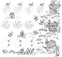 Обведи по точкам, ягоды, земляника, малина