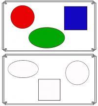 Раскраски фигуры, раскрась по образцу, круг, квадрат