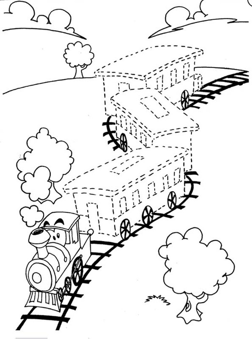 Обведи по точкам, поезд