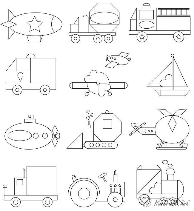 Раскраски из фигуры, ракета, грузовик, пожарная машина